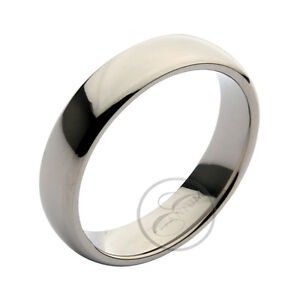 Titanium-Court-Shaped-High-Polished-Wedding-Ring-Band-039-039-039-All-Width-039-s-amp-Size-039-s-039