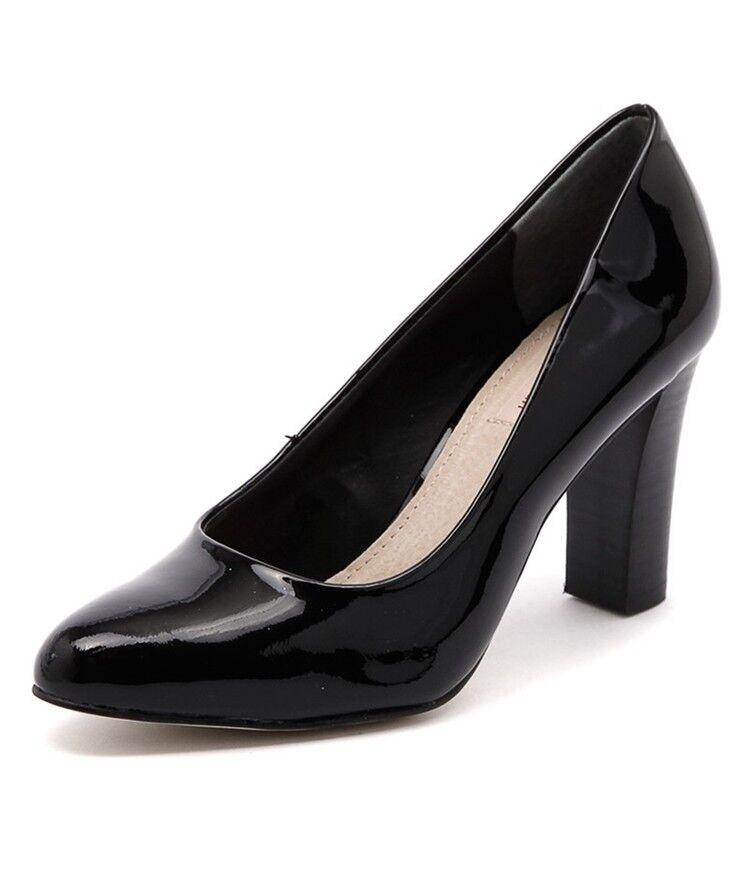 New Leather Diana Ferrari Lorikeet Patent Black Leather New Pump / Block Heel 448555