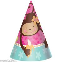 Pink Mod Monkey Love Cone Hats (8) Birthday Party Supplies Favors Bananas