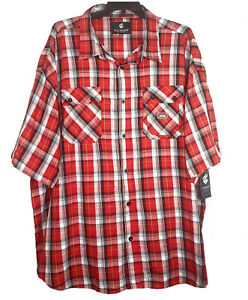 Rocawear-Classic-Button-Up-Shirt-Size-6XB-Mens-Short-Sleeve-Red-Plaid-Casual