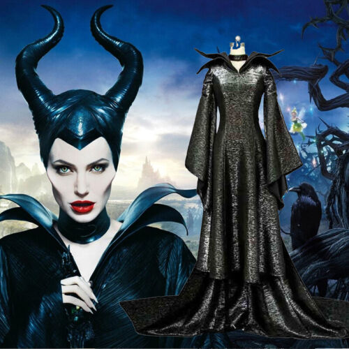 Halloween Adult Women Maleficent Costume Fancy Dress With Hat Evil Witch Queen