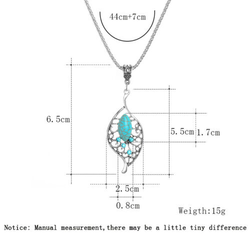 Vintage Silver Plated Rhinestone Turquoise Pendant Chain Necklace Charm Jewelry