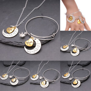 I-Love-You-To-The-Moon-amp-Back-Necklace-Pendant-amp-Bracelet-Set-Family-For-Women