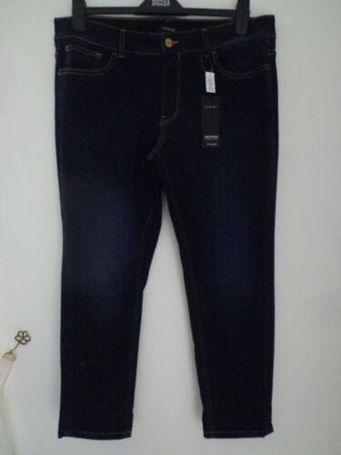 BNWT Donna M&S Autograph gamma Dark Indigo Ragazza Jeans Taglia 16 Brevi