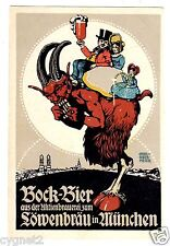 POSTCARD GERMAN BEER BOCK-BIER LOWENBRAU SIGNED OBERMEIER