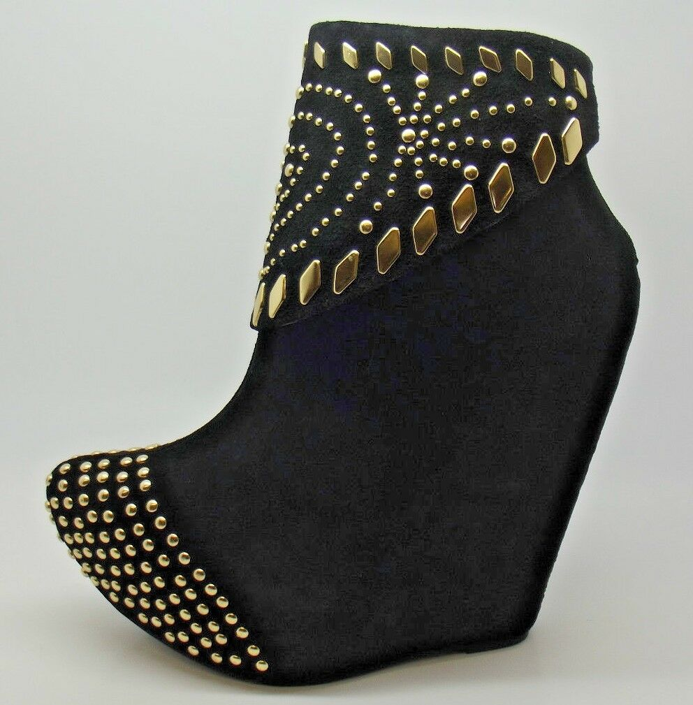 STUNNING LADIES JEFFREY CAMPBELL ZION BLACK   gold STUDDED WEDGE ANKLE BOOTS 4-7