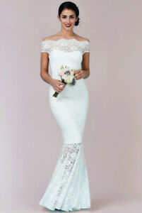 Quiz-Bridal-Ivory-Lace-Bardot-Dress-Gown-Long-Mermaid-hem-Maxi-Evening-Prom-UK