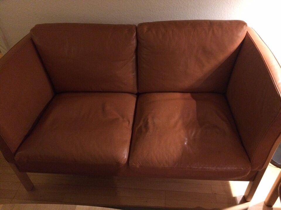 Sofagruppe, læder, 3 pers.