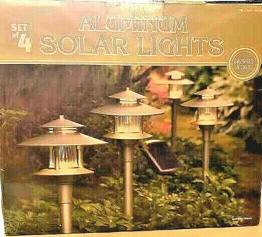 Aluminum Set of 4 Solar Lights 447682 NEW