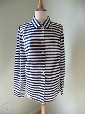 NEW J.CREW  LIGHTWEIGHT BOY SHIRT IN STRIPE, NAVY IVORY, SIZE 12, $78
