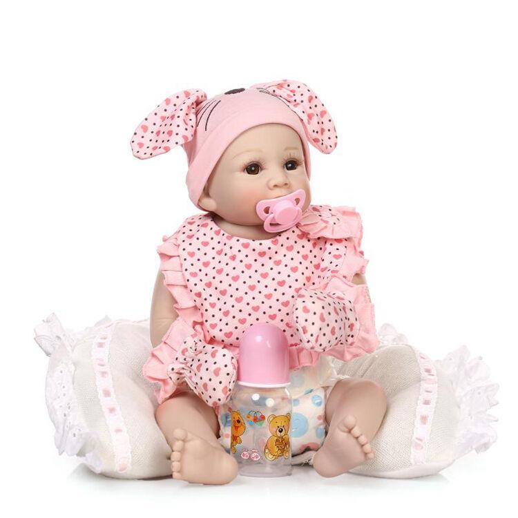 Muñeca Reborn Bebé Niña 20  Muñecas Juguetes Con Ropa Niños Regalo De Vinilo rosado recién nacido