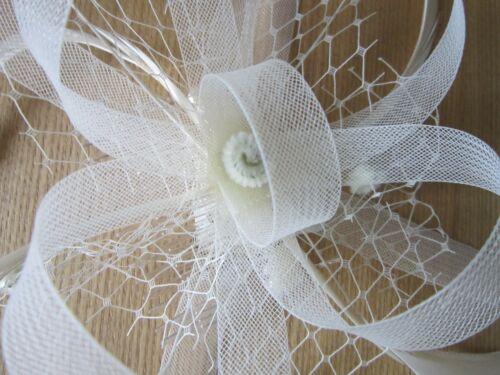 Ivory Cream FASCINATORLooped Net RibbonFeather Tendrils 2