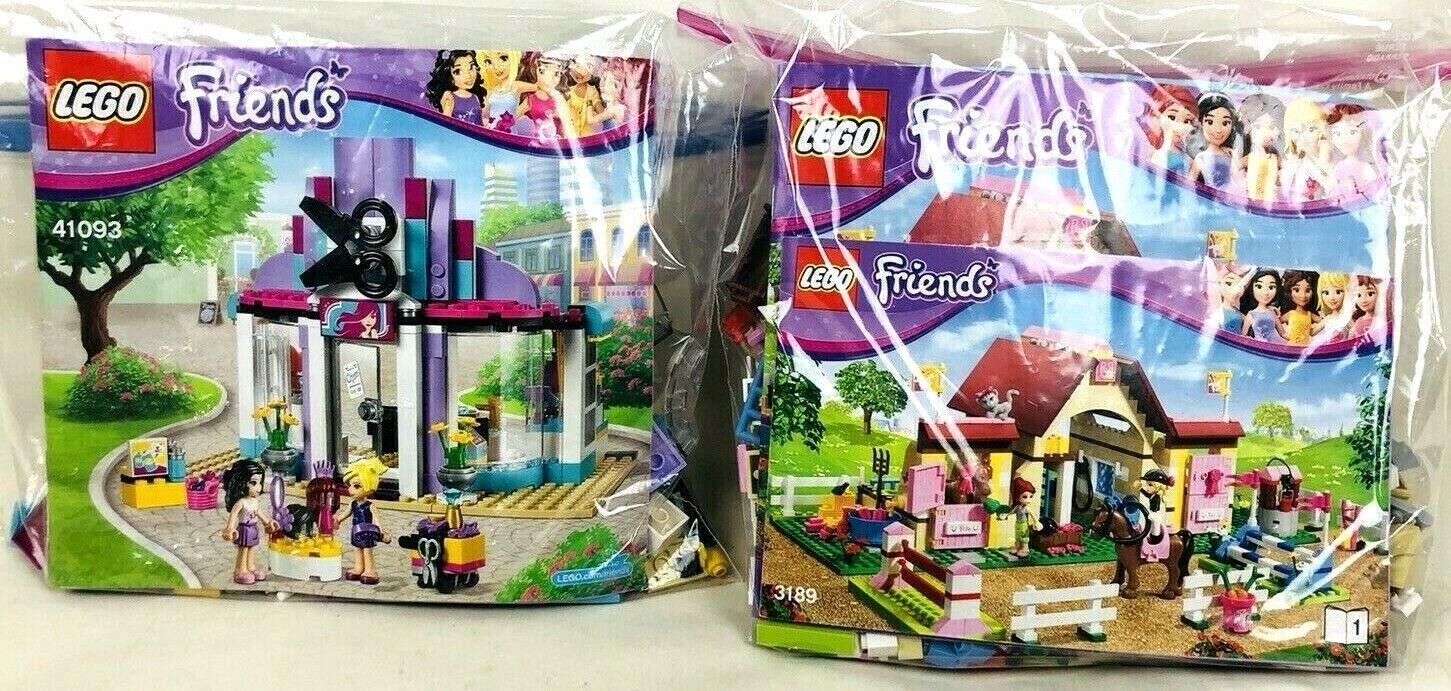 Lot de 2 LEGO FRIENDS Heartlake Riding Club 3189 & salon de coiffure 41093 complet EUC