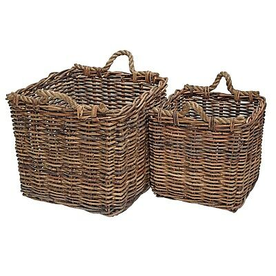 Rattan Log Basket, Rope Handles, Strong Square Home Storage Planter Fire Place Mooi En Charmant