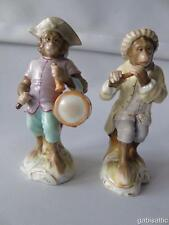 Continental Set of 2 Two Porcelain Monkey Band Drummer & Flute Oboe Player 4.25""