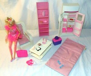 Vintage BARBIE Doll Furniture Refrigerator White Wicker ...