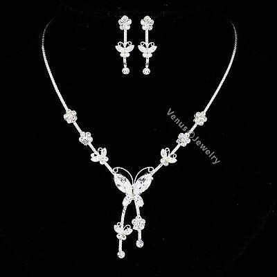 Butterfly Bridal Wedding Jewelry Rhinestone Crystal Necklace Earrings Set N308