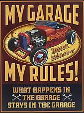 My Garage My Rules, Retro metal vintage style Sign/Plaque Novelty Gift
