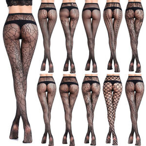 Women-039-s-Black-Lace-Fishnet-Hollow-Out-Floral-Pantyhose-Tights-Stocking-Lingere