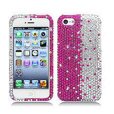 For Apple iPhone 5C Crystal BLING Hard Case Phone Cover Pink White