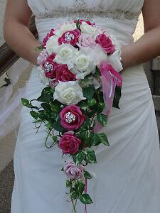 Bouquet Sposa Fucsia.Dettagli Su Bouquet Sposa Cascata Crema Fucsia Matrimonio Sposa Per Vestito Da Strass