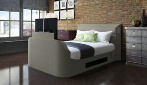 Image Is Loading Medford Upholstered Media TV Bed Frame INCLUDED