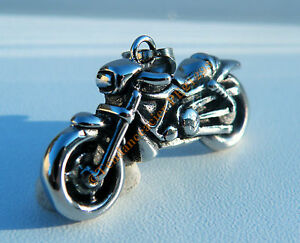 Pendentif-Argente-Pur-acier-Inoxydable-Biker-Moto-Motard-Gros-Cube-Chaine-Kdo