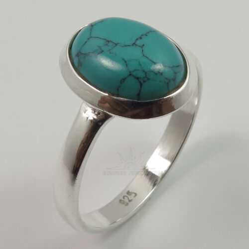 Oval Gemstone S Fashion Ring Choose Size 925 Sterling Silver Jewelry TURQUOISE