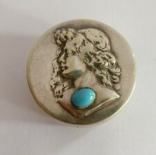 Art nouveau silver plated maiden pill snuff patch box turquoise cabachon