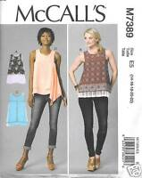 M7389 Misses Sleeveless Tops With Overlays Sizes 14-22 Mccalls Pattern 7389