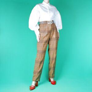 VINTAGE-80-039-s-90-039-s-Grunge-Brown-Straight-Beige-Retro-Boho-Trousers-Pants-10-12