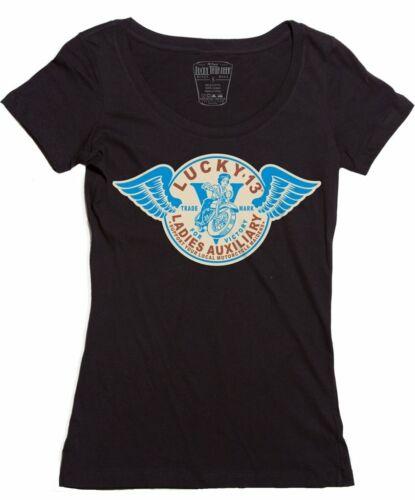 T Pin Club Lucky Femmes Moto up 13 Rétro Auxiliaire Shirt vxqww1UZ
