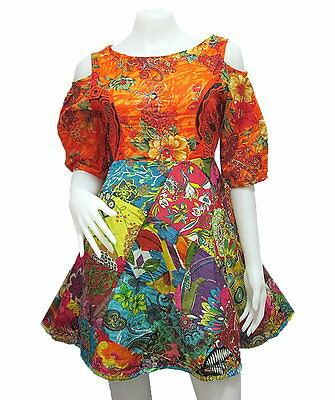 Peasant Boho Hippie Short Sleeve Open Shoulder Patchwork Short Dress  YP407