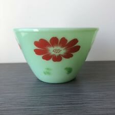 RARE Fire King Jadite / Jadeite / Jade-ite Splash Proof Bowl Red Flowers *Label*