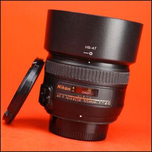 Nikon-AF-50mm-F1-4-G-Enfoque-automatico-Prime-S-Lente-Con-Tapas-Lente-Frontal-trasera-amp-Capucha