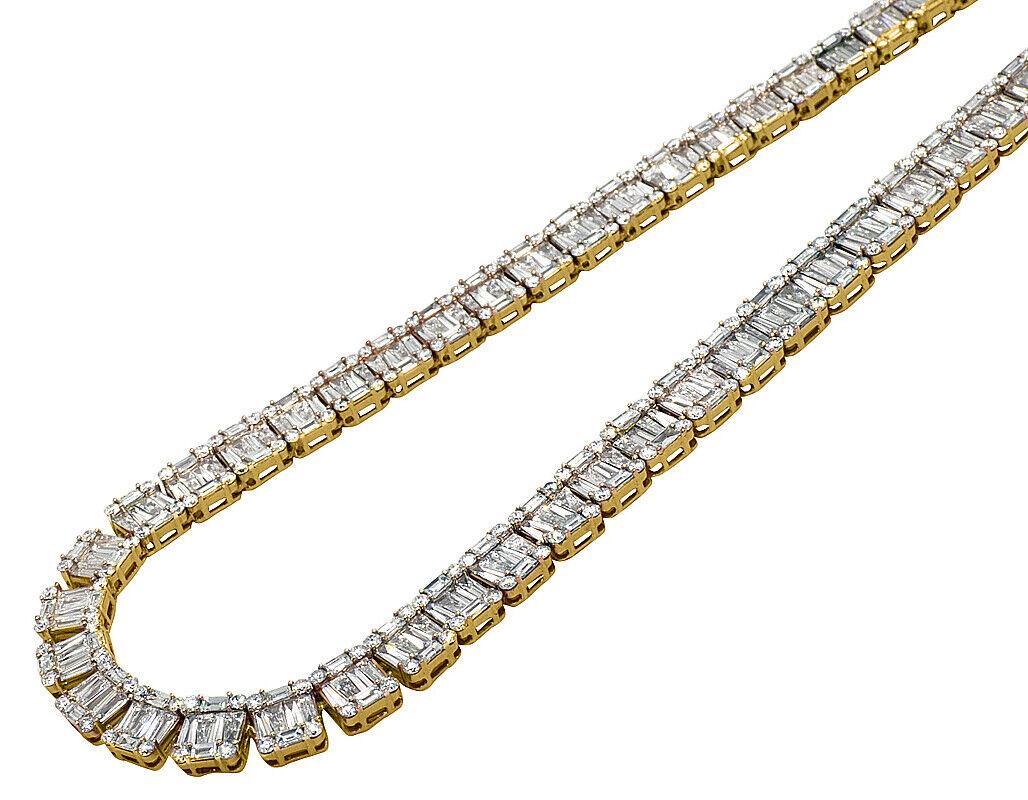 14K Yellow gold VS Diamond 8mm Baguette Invisible Set Tennis Chain 21  33 1 2 CT