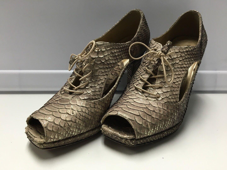 STUART WEITZMAN Brown Metallic Snakeskin Open Toe Lace Up Heels Sz 6.5 B3098