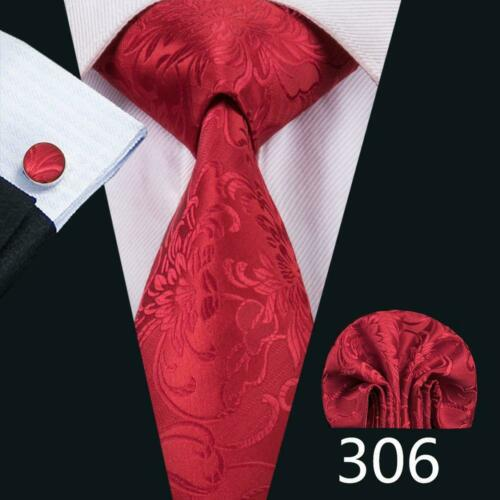 USA Classic Red Silk Tie Set Solid Floral Paisley Animal Red Burgundy Men Tie