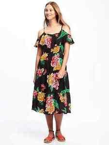 05ce1cf6c431 Old Navy Women s Spr.  17 Black Floral Ruffled Cold Shoulder Dress M ...