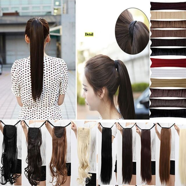 long Straight Curly tie up clip in ponytail Extensions sexy women real natural