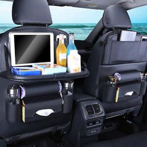 Leather-car-seat-back-travel-multi-pocket-folding-storage-bag-organizer-holde-AL