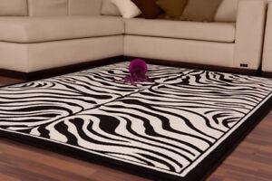 Zebra Rugs Wildlife Black Cream
