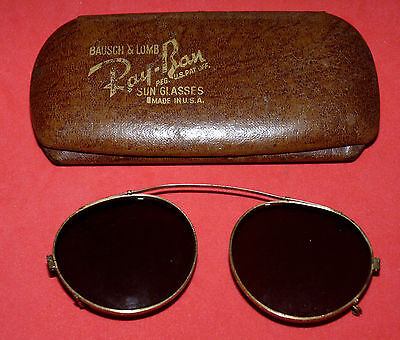1930s Original B&L RAY BAN 12K GOLD Filled Clip On vtg Rare Aviator Sunglasses