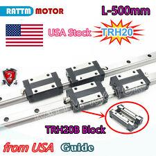 Usa2 Sets Square Linear Guide Rail Trh20 500mm With 4pcs Bearing Block Set Cnc