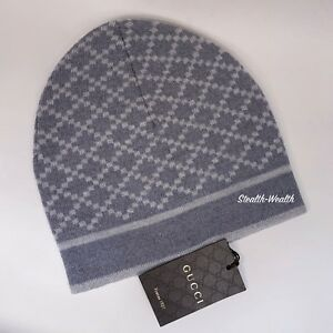 Gucci Gray Diamante Print Winter Wool Ski Skull Cap Beanie Hat ... e34c3e51d52