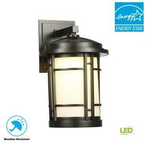 Details About World Import 9 In Burnished Bronze Outdoor Led Wall Sconce With White Opal Gl