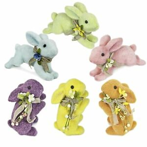 Glitter-Furry-Pastel-Flower-Bunny-Bows-Easter-Sunday-Spring-Figurine-Decoration