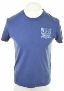 Jack-Wills-grafico-de-hombre-T-Shirt-Top-Pequena-Azul-Algodon-NC01