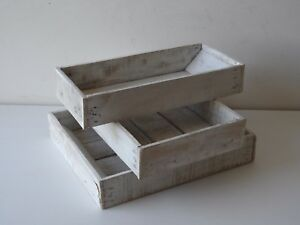 Svuotatasche, vassoietti in legno bianco decapato, | eBay