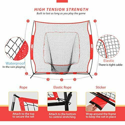 VIVOHOME 7x7 Feet Baseball Backstop Softball Practice Net With Strike Zone 31a for sale online